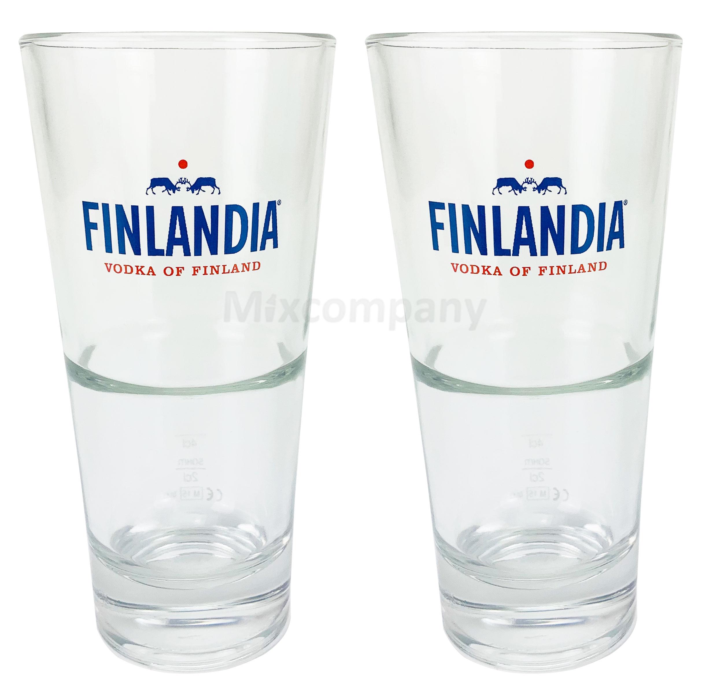 Finlandia Vodka Wodka Glas Gläser Set - 2x Gläser 2,4cl geeicht Bar Cocktail Longdrink