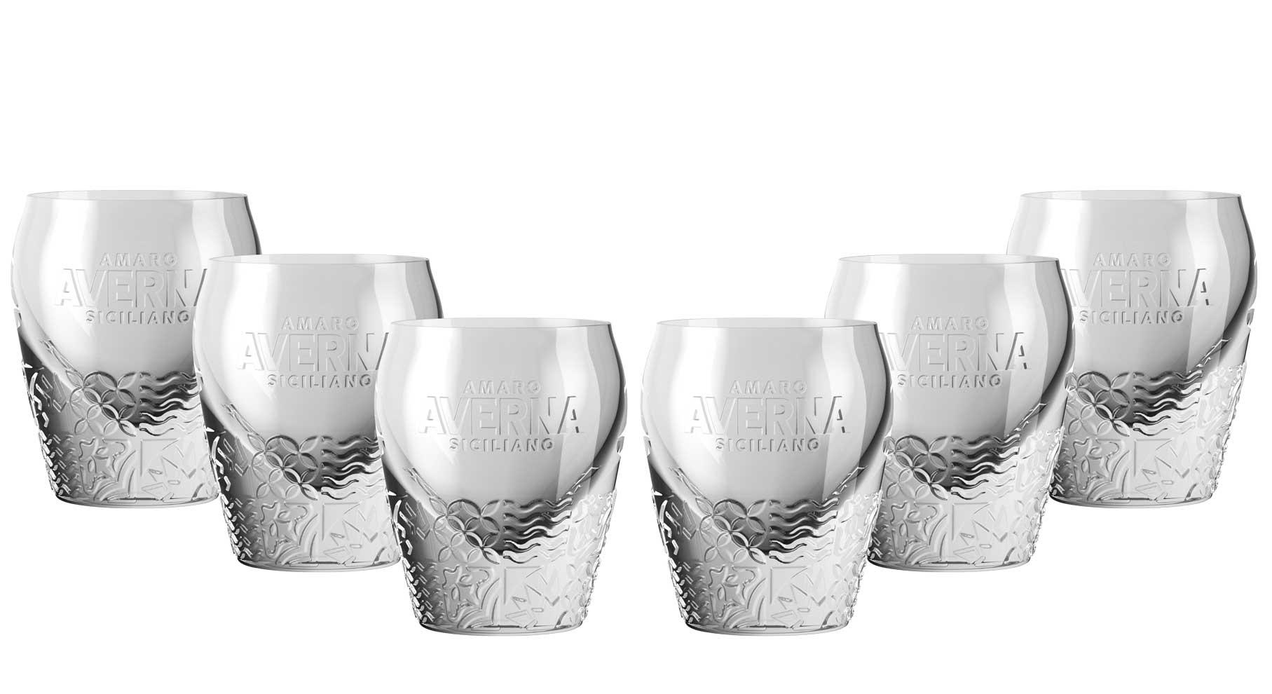 Averna Shotglas - 6er Set Glas neues Design / Tumbler mit Muster und 2cm Eichung
