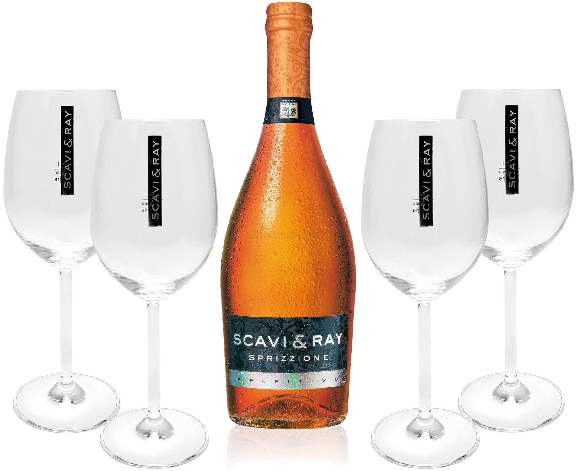 Scavi & Ray Sprizzione Aperitivo 0,75l (8% Vol) + 4x Ballon Gläser (20cl) -[Enthält Sulfite]