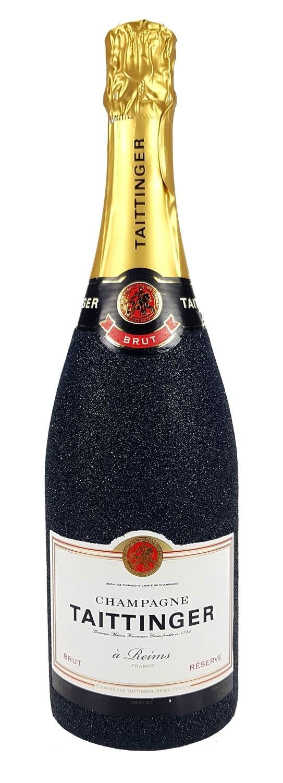 Taittinger Brut Champagner 0,75l (12% Vol) Bling Bling Glitzerflasche in schwarz -[Enthält Sulfite]
