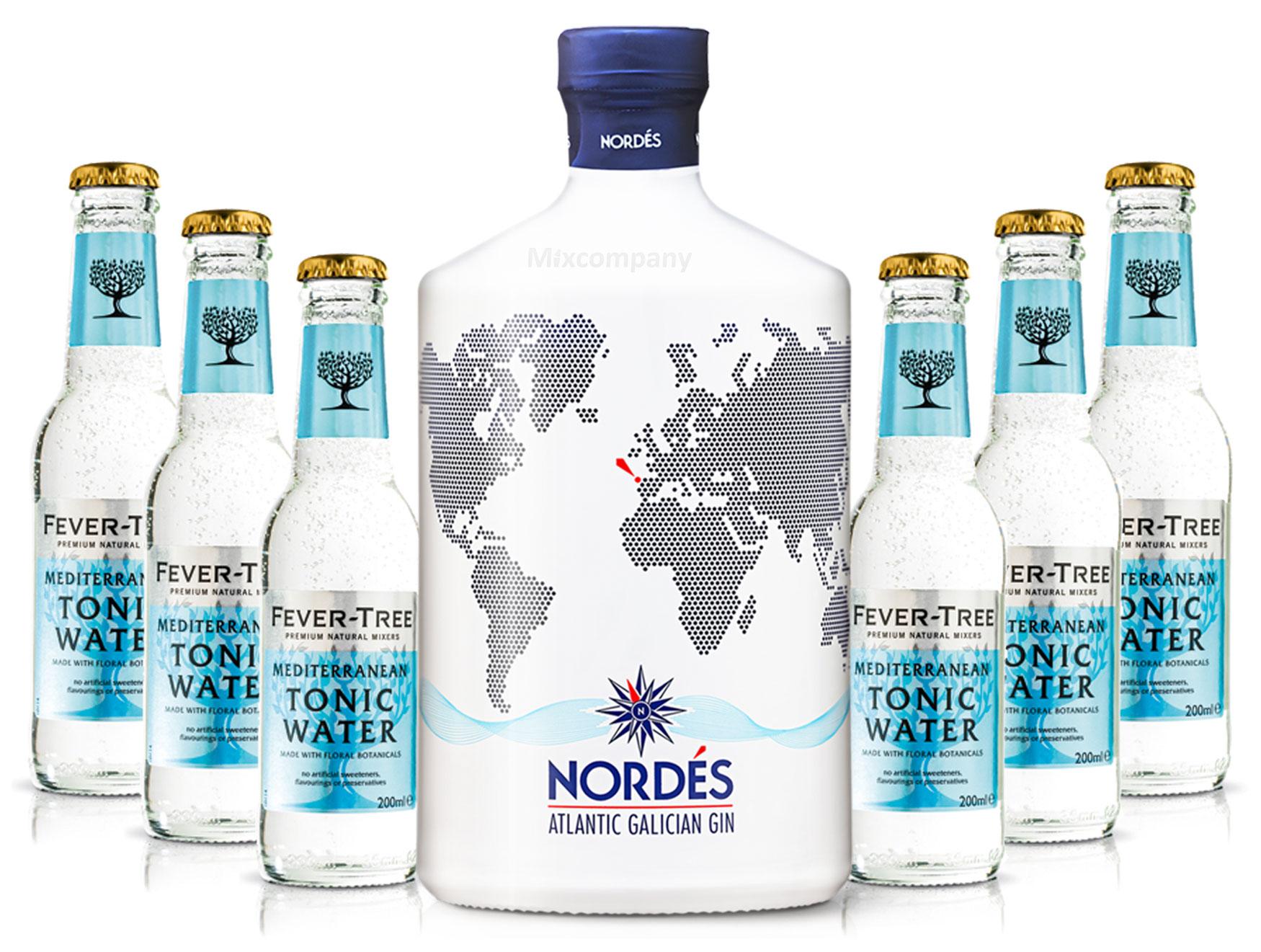 Nordes Atlantic Galician Gin aus Galizien 0,7l (40% Vol) + 6x Fever-Tree Mediterranean Tonic Water 0,2 MEHRWEG inkl. Pfand- [Enthält Sulfite]