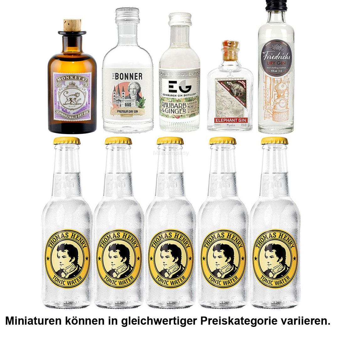 Gin Tonic Probierset - 5x Verschiedene Gin Sorten je 50ml + 5x Thomas Henry Tonic Water 200ml inkl. Pfand MEHRWEG - NEU