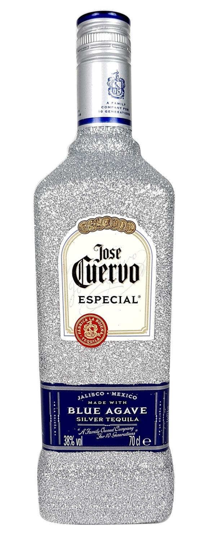 Jose Cuervo Tequila Silver Especial 0,7l 700ml (38% Vol) Bling Bling Glitzerflasche in silber -[Enthält Sulfite]