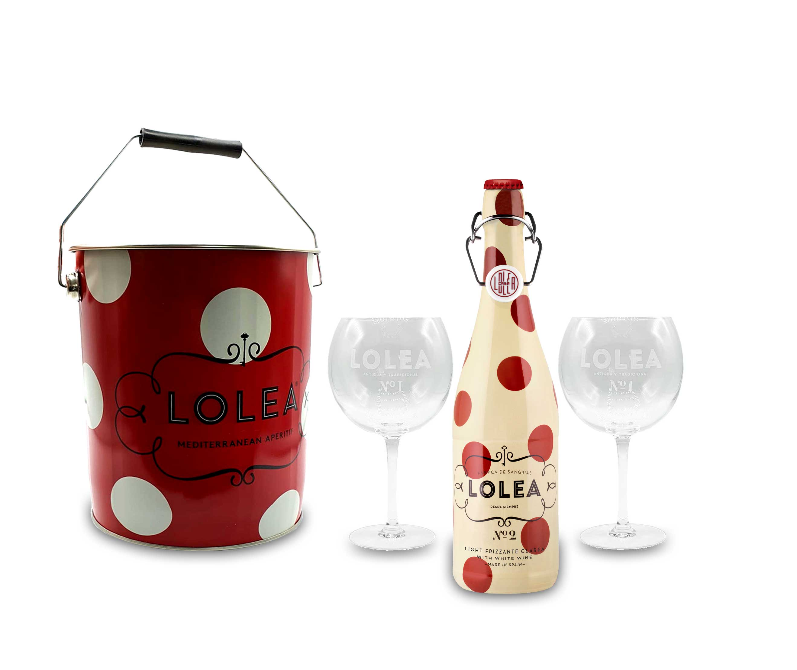 Lolea Set - Kühler mit Henkel + 2 Ballongläser + Lolea Sangria N°2 WEIß 0,75L (7% Vol) Weißwein Sangria Chardonnay, Macabeo Trauben- [Enthält Sulfite]