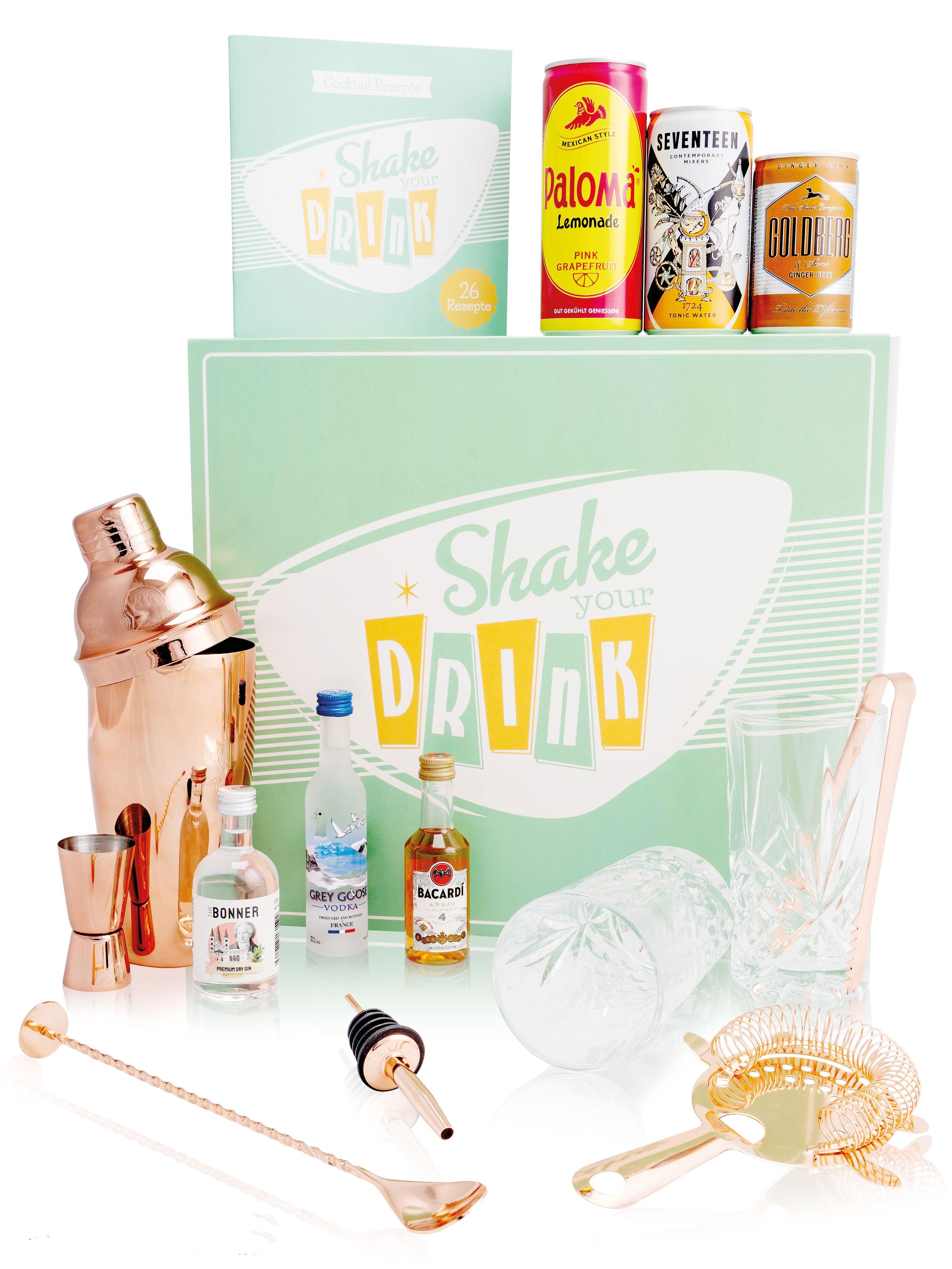 SHAKE YOUR DRINK 16 Teiliges Set mit 6 Bartools 2 Kristall Longdrink Gläsern 1 Rezept Buch 3 Cocktails 1 Geschenkbox (Paloma+Grey Goose / 1724+Bonner Gin / Goldberg Intense Ginger+Bacardi 4Jahre) inkl. Pfand EINWEG