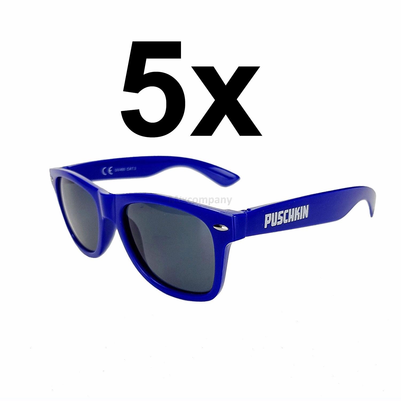 Puschkin Sonnenbrille Nerd Brille mit UV 400 Schutz - rot Aktion - 5 Stück