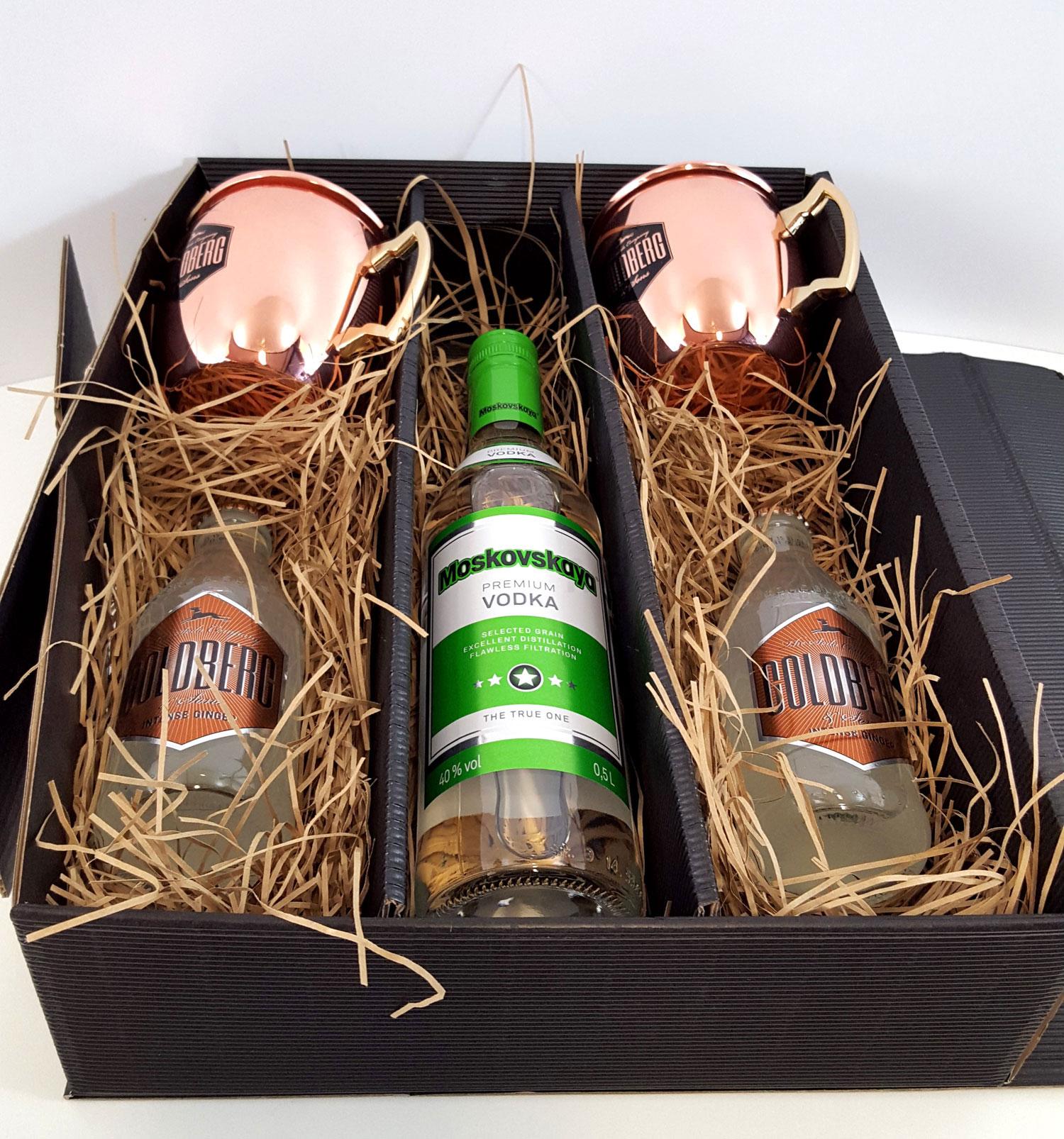 Moscow Mule Set / Geschenkset - Moskovskaya Vodka 0,7l 700ml (40% Vol) + 2x Goldberg Kupferbecher + 2x Goldberg Intense Ginger 200ml - Inkl. Pfand MEHRWEG