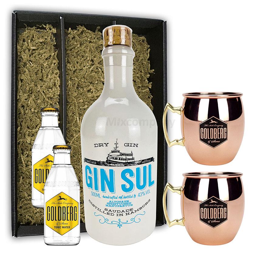 Gin Sul Hamburg Dry Gin 0,5l ( 43% Vol )+ 2x Goldberg Tonic Water 0,2l MEHRWEG + 2xGoldberg Kupferbecher Bar Longdrink Cocktail Sammlung Gin Tonic Moscow Mule inkl. PFAND- [Enthält Sulfite]