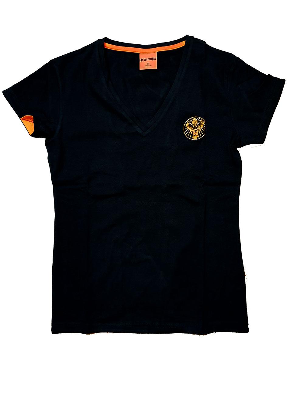 Jägermeister Damen Tshirt in schwarz mit V Ausschnitt in M