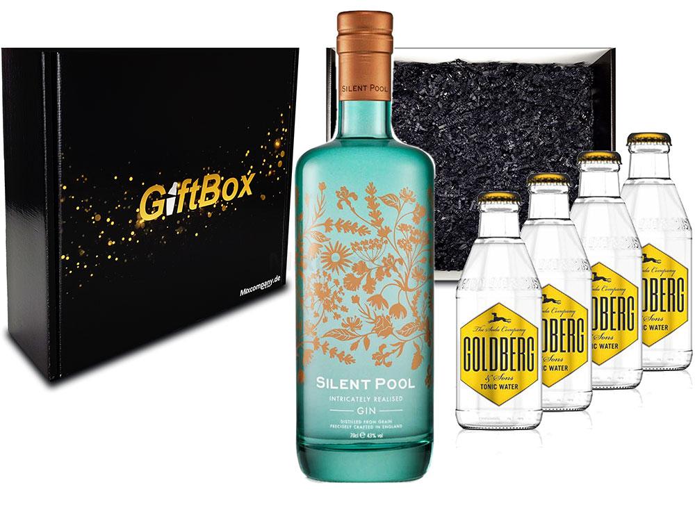 Mixcompany Gin Tonic Giftbox Geschenkset - Silent Pool Gin 0,7L 700ml (43% Vol) + 4x Goldberg Tonic Water 0,2l MEHRWEG inkl. Pfand Gin Tonic Bar- [Enthält Sulfite]