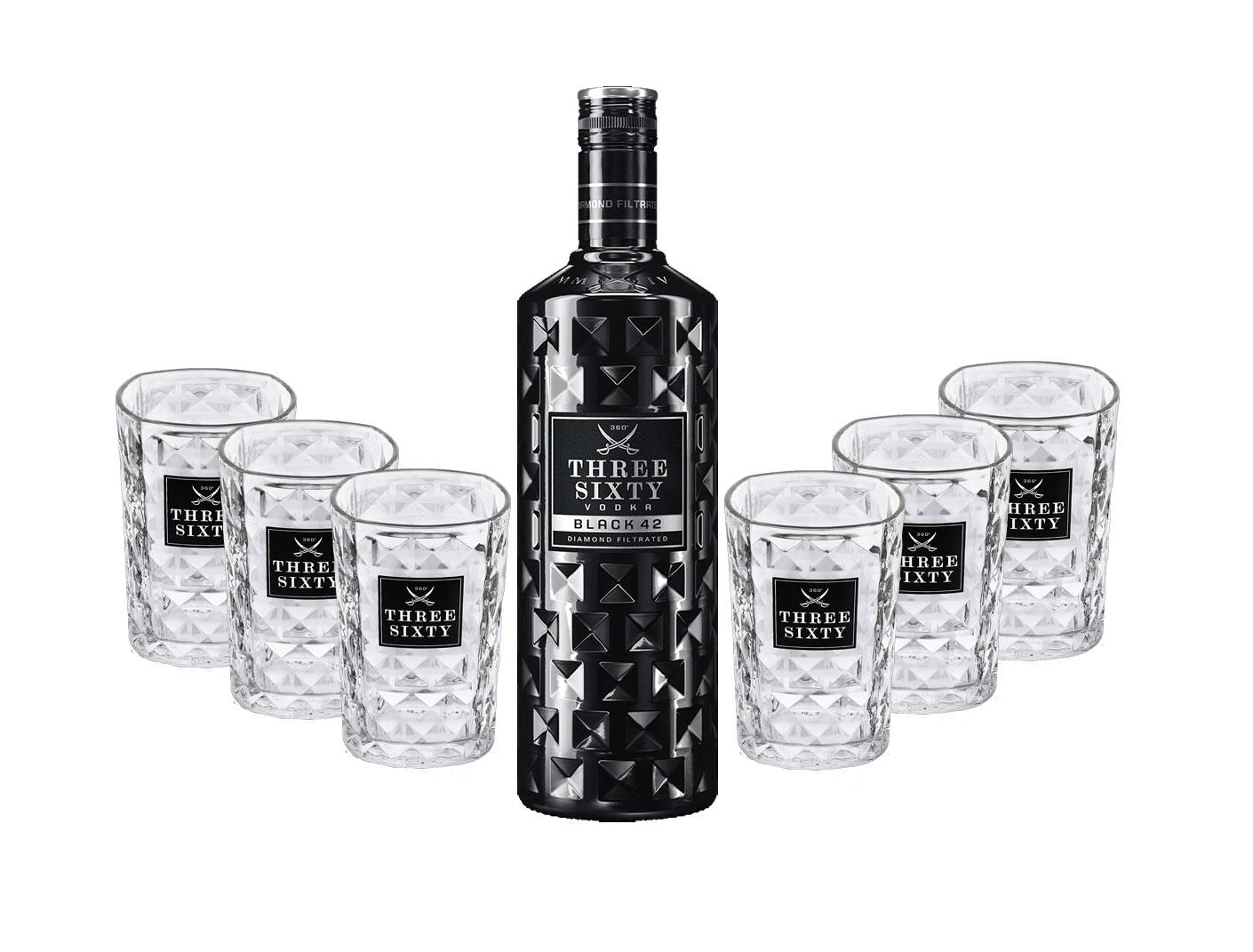 Three Sixty Set Geschenkset - Three Sixty Black Vodka Wodka 0,7L 700ml (42% Vol) + 6x Tumbler 0,2l 200ml Facettenschliff Glas- [Enthält Sulfite]