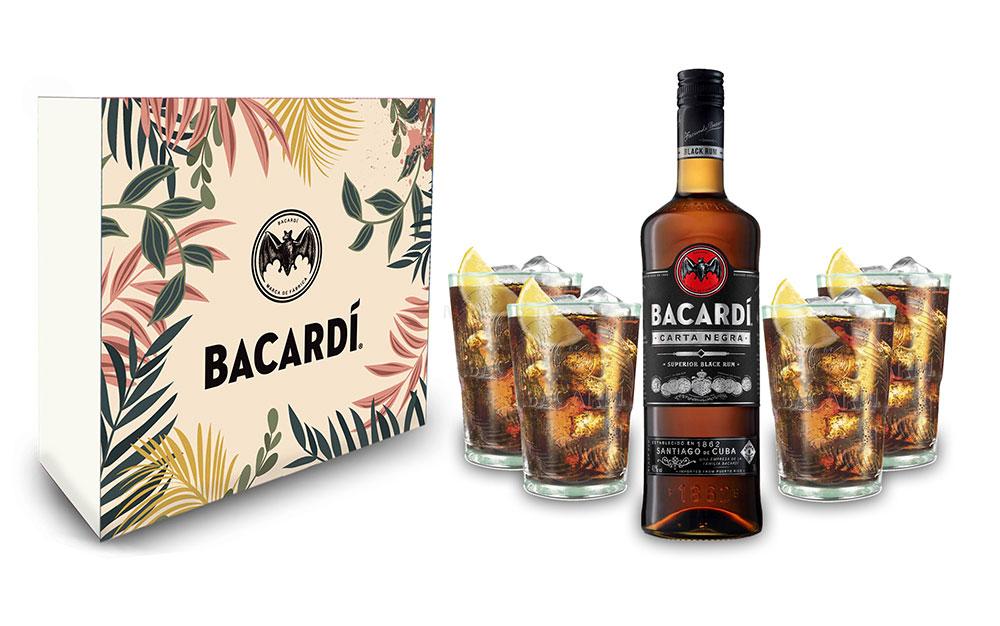Bacardi Geschenkset - Bacardi Carta Negra Rum 0,7l 700ml (40% Vol) + 4er Set Gläser - Longdrink Glas- [Enthält Sulfite]