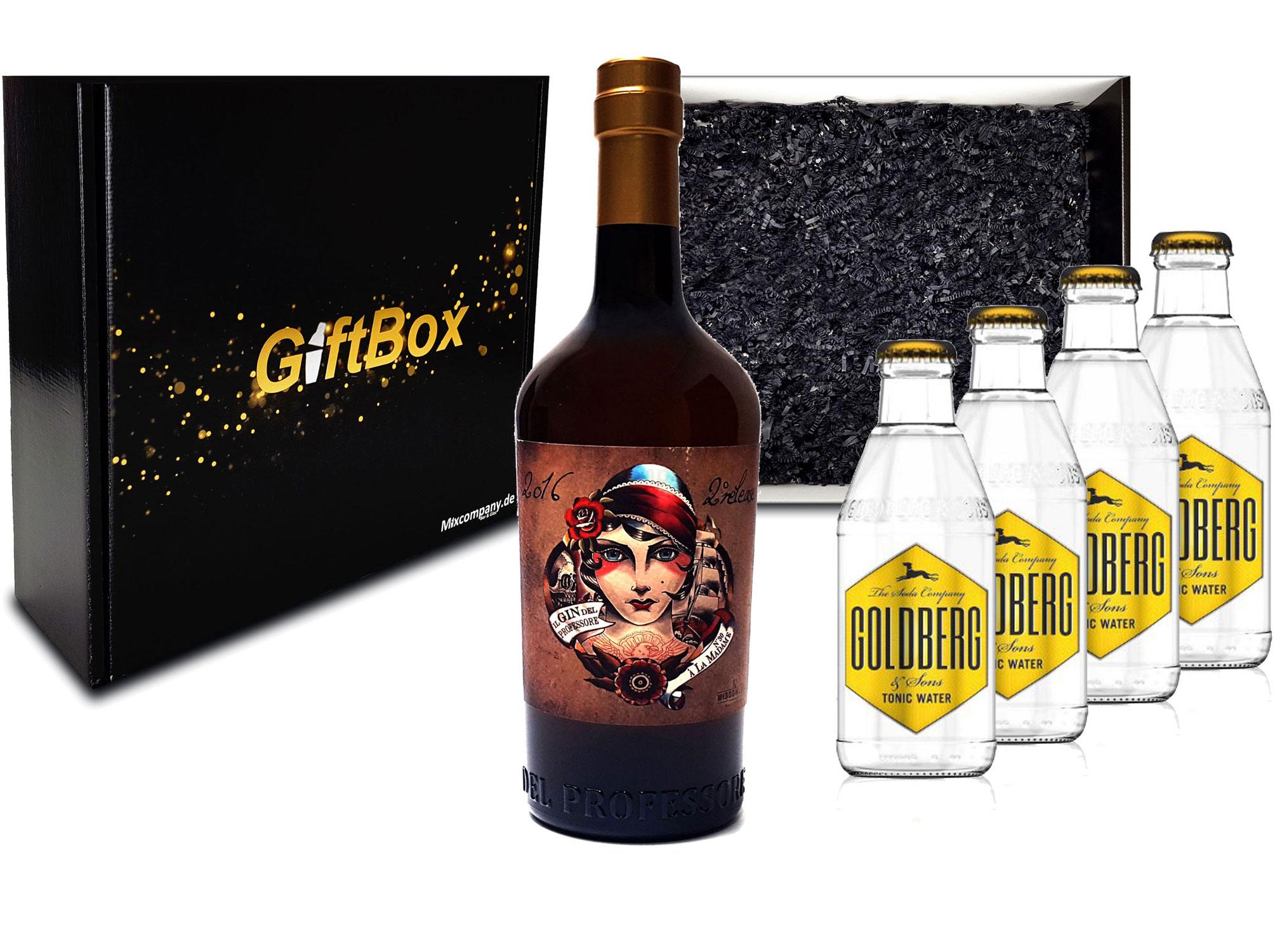 Gin Tonic Giftbox Geschenkset - Gin del Professore Madame 0,7l 700ml (42,9% Vol) + 4x Goldberg Tonic Water 200ml inkl. Pfand MEHRWEG - [Enthält Sulfite]