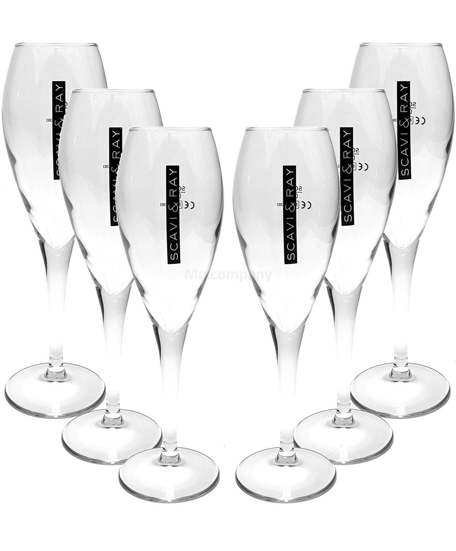 Scavi & Ray Glas Gläser-Set - 6x Flöten Gläser 10cl geeicht
