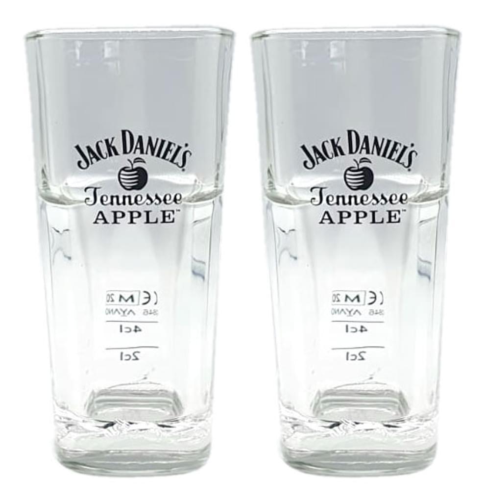 Jack Daniels Tennessee Apple 2x Longdrink Glas 2er Set Gläser 2cl / 4cl geeicht Eichung