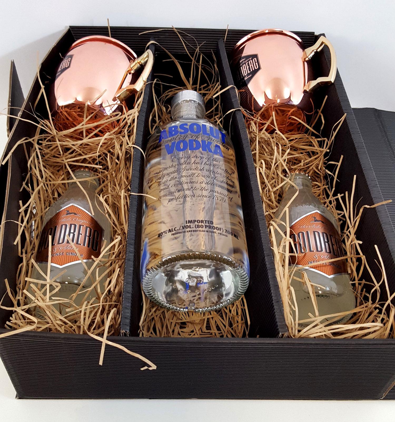 Moscow Mule Set / Geschenkset - Absolut Vodka 0,7l 700ml (40% Vol) + 2x Goldberg Kupferbecher + 2x Goldberg Intense Ginger 200ml - Inkl. Pfand MEHRWEG