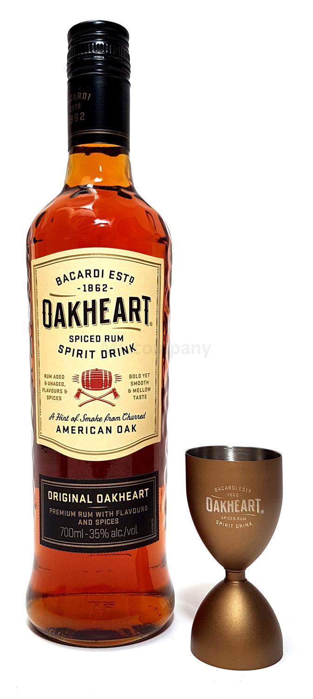 Bacardi Oakheart Spiced Rum 0,7l 700ml (35% Vol) + Jigger (Metall)