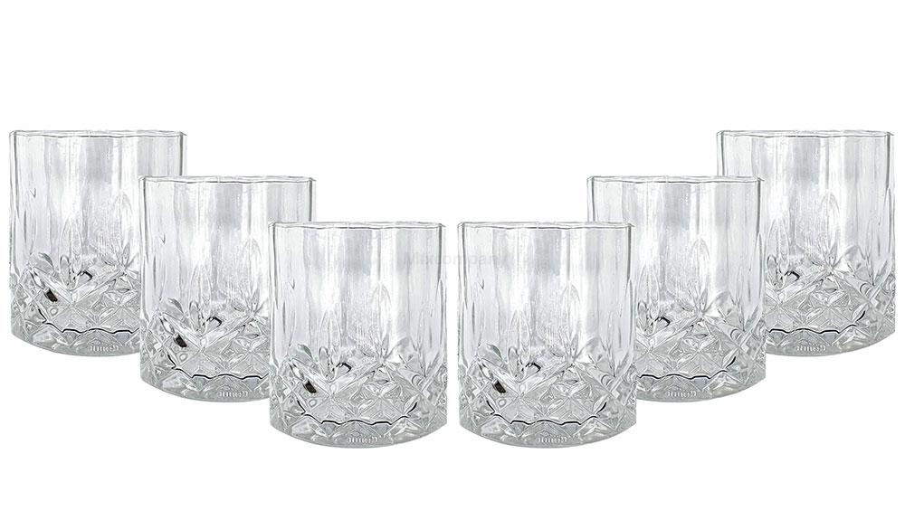 Mixcompany Tumbler Glas / 6er Gläser Set - 6x Whisky Tumbler / Kristall Design Whiskey Glas