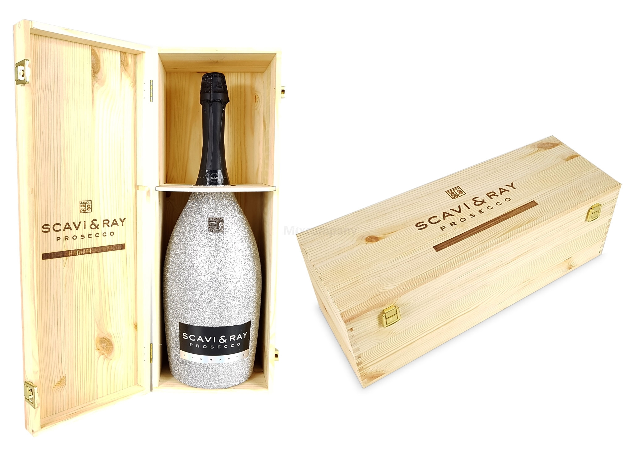 Scavi & Ray Prosecco Spumante Magnum 3l (11% Vol) Bling Bling Glitzerflasche Silber + Holzbox Holzkiste -[Enthält Sulfite]