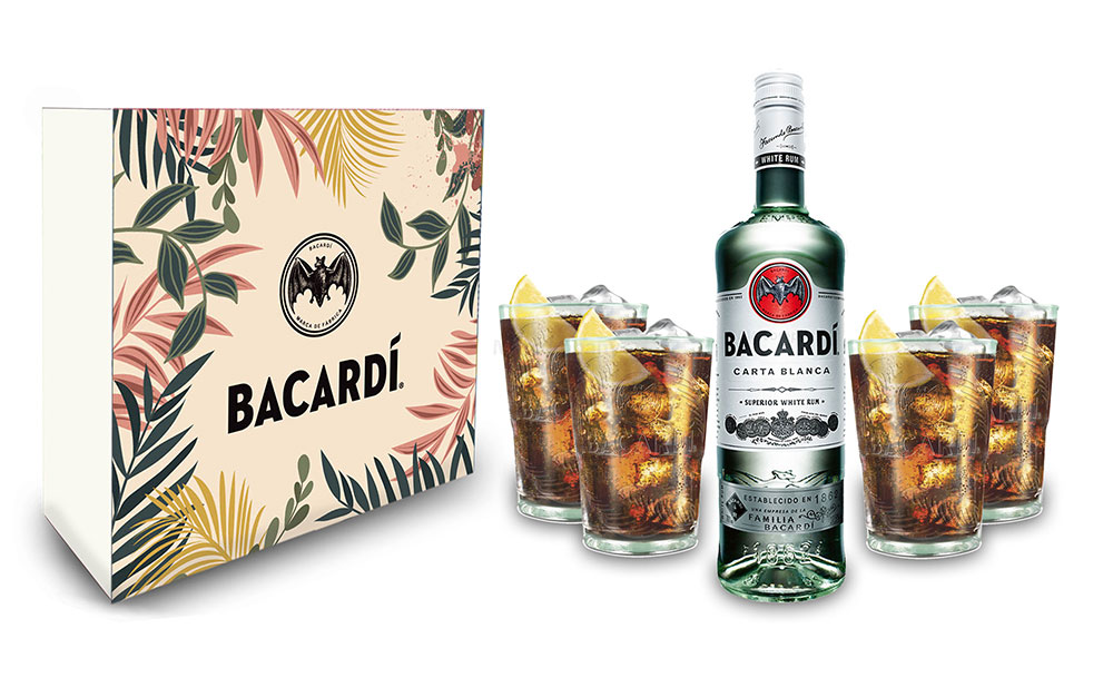 Bacardi Geschenkset - Bacardi Carta Blanca Rum 0,7l 700ml (37,5% Vol) + 4er Set Gläser - Longdrink Glas- [Enthält Sulfite]