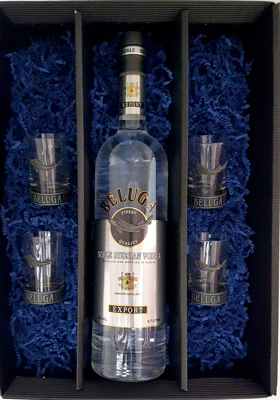 Beluga Geschenkset - Beluga Vodka 0,7l 700ml (40% Vol) + 4x Shot-Gläser