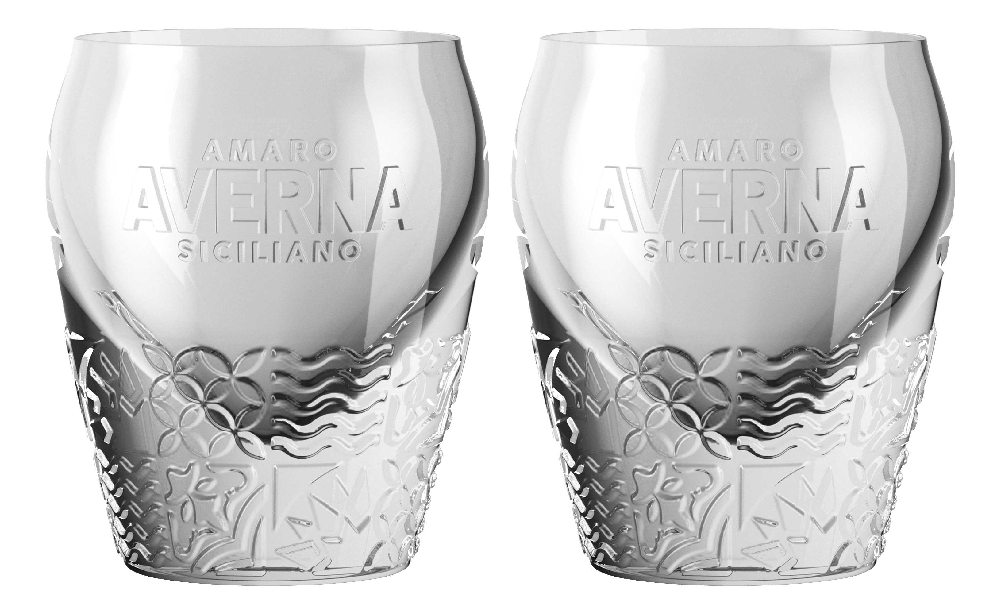 Averna Shotglas - 2er Set Glas neues Design / Tumbler mit Muster und 2cm Eichung