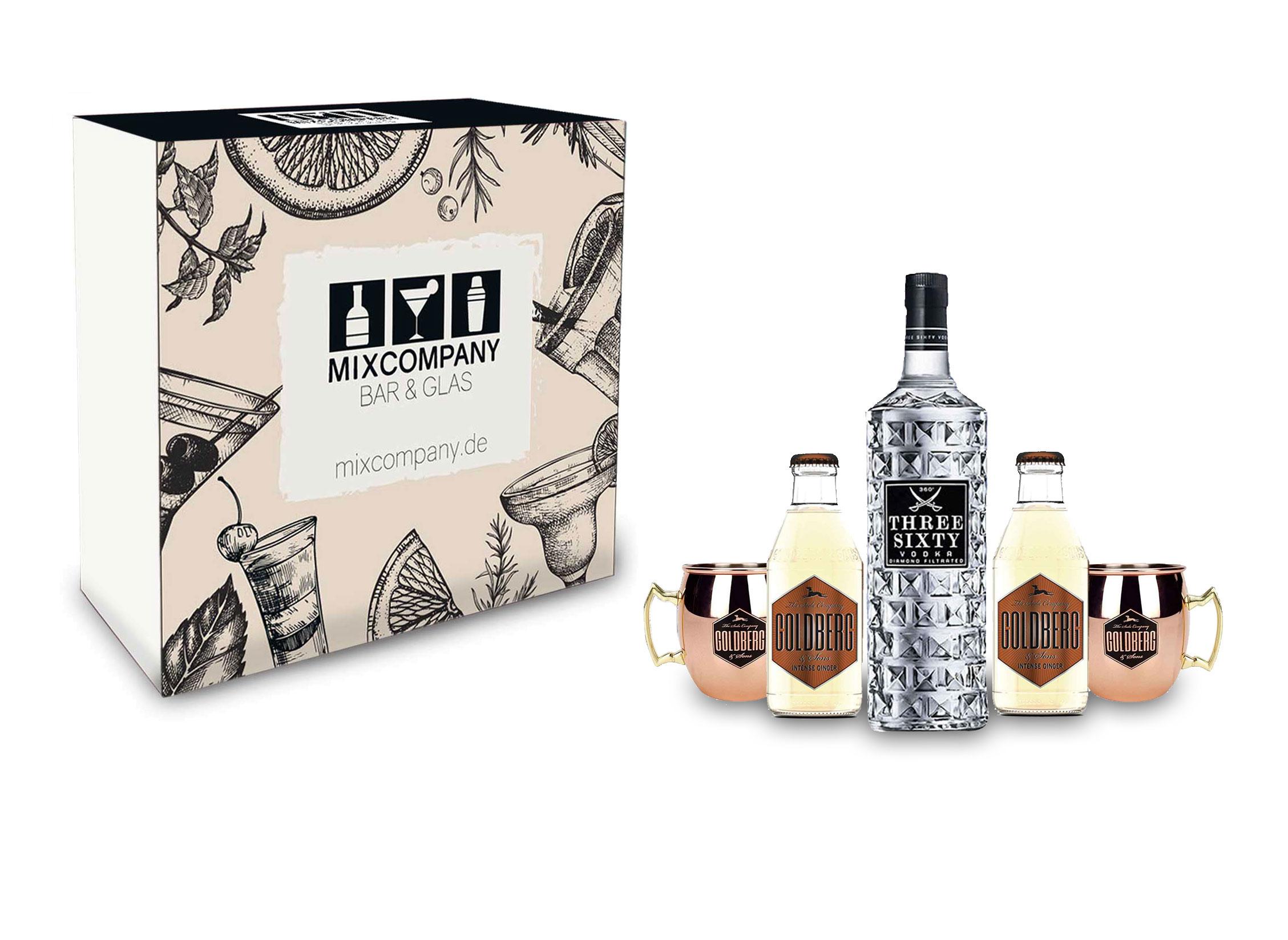 Moscow Mule Set / Geschenkset - Three Sixty Vodka 1L (37,5% Vol) + 2x Goldberg Kupferbecher + 2x Goldberg Intense Ginger 200ml - Inkl. Pfand MEHRWEG