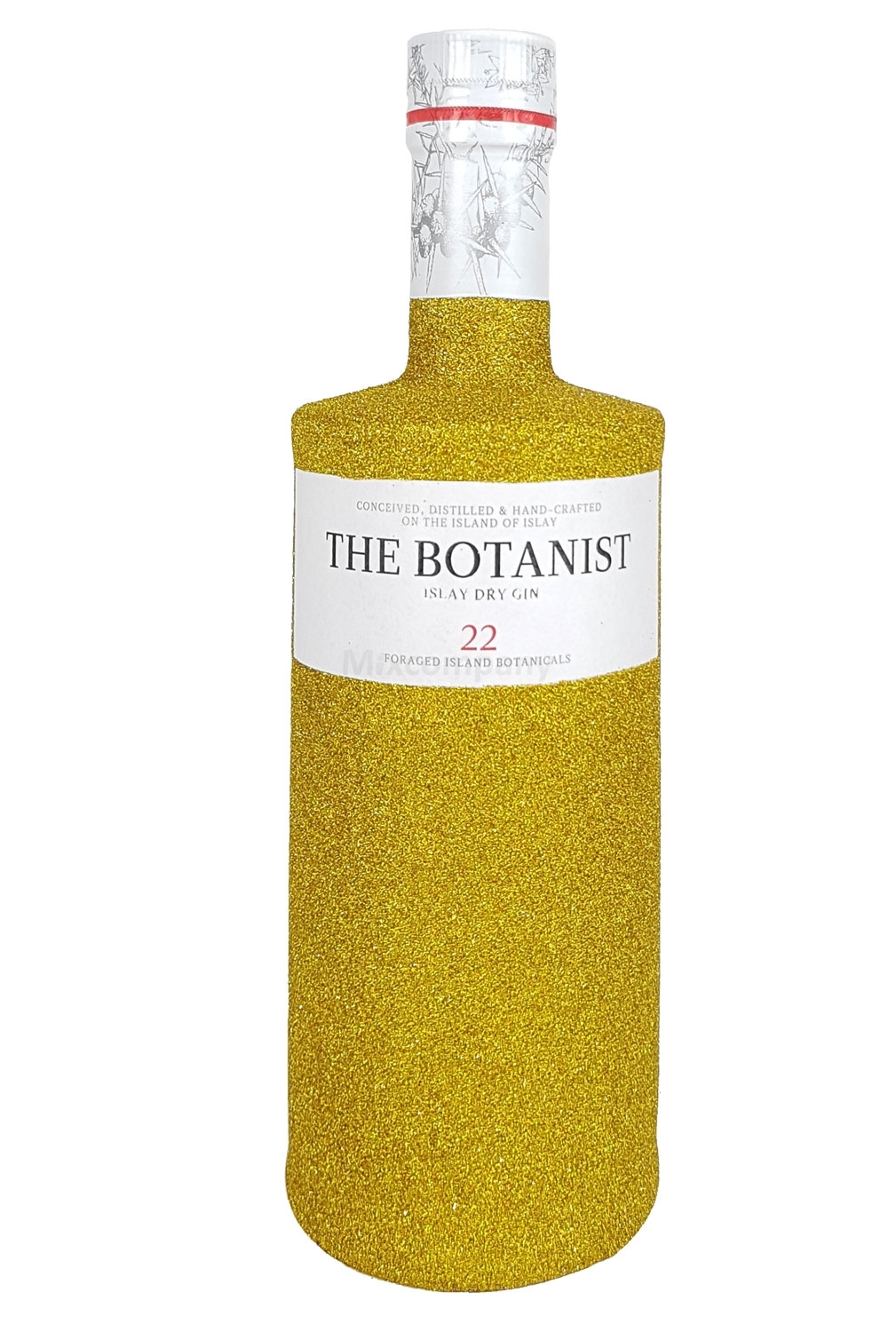 The Botanist Islay Dry Gin 0,7l 700ml (46% Vol) Bling Bling Glitzerflasche in gold -[Enthält Sulfite]