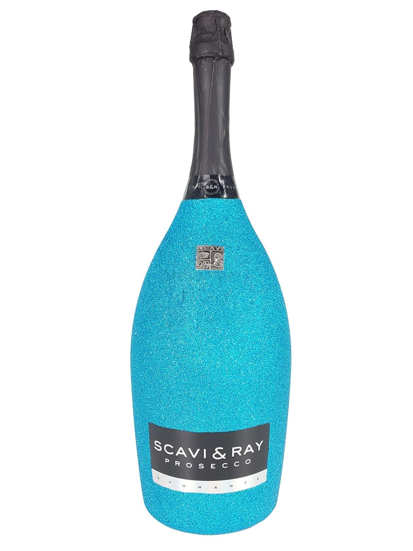 Scavi & Ray Prosecco Spumante Magnum 1,5l (11% Vol) Bling Bling Glitzerflasche Blau -[Enthält Sulfite]