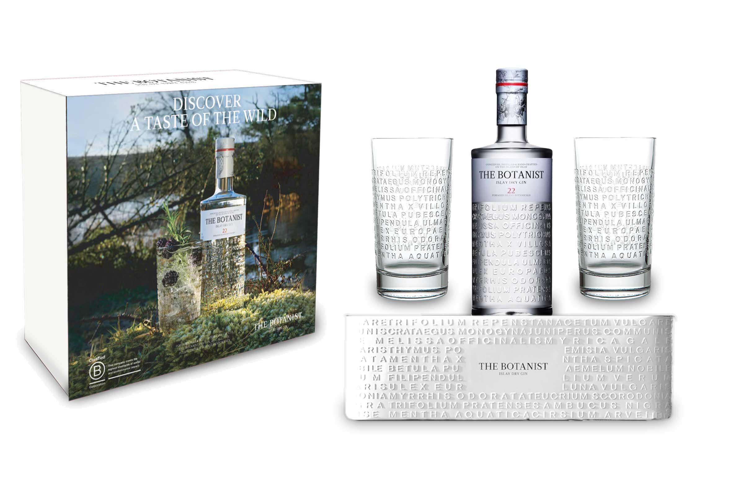 Botanist Gin Geschenkset - The Botanist Islay Dry Gin 0,7l (46% Vol) + 2x Longdrinkgläser + Blumentopf / Pflanzkübel aus Metall mit Logo
