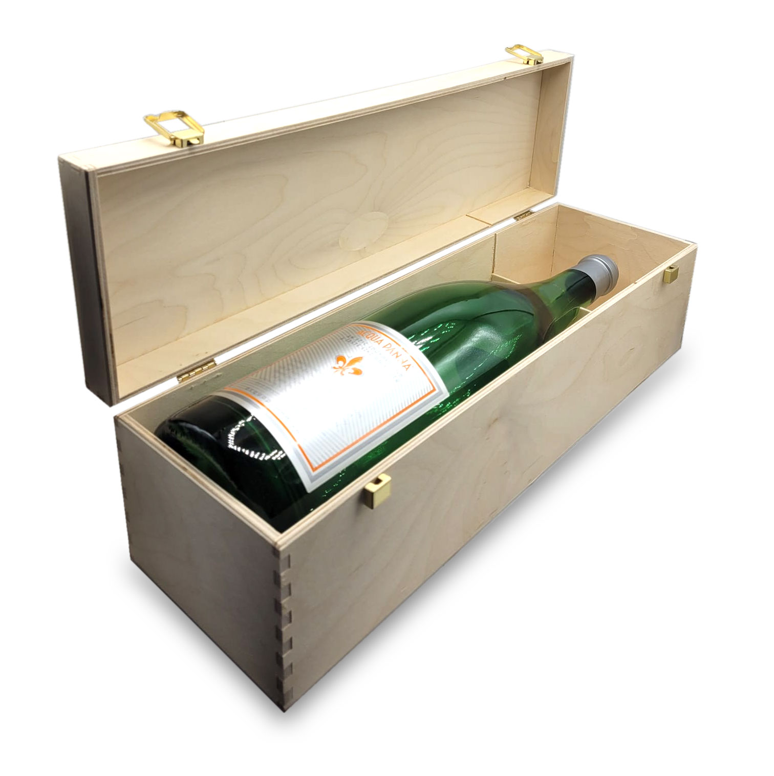 Acqua Panna Jerobam Magnum Flasche Dummy - ohne Inhalt in Holzbox Höhe ca 50cm