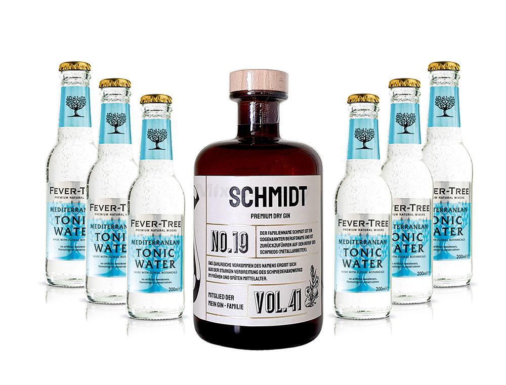 Mein Gin - Schmidt Premium Dry Gin 0,5l (41% Vol) - Schmidt s Gin No.19 + 6x Fever-Tree Mediterranean Tonic Water 200ml inkl. Pfand MEHRWEG -[Enthält Sulfite]