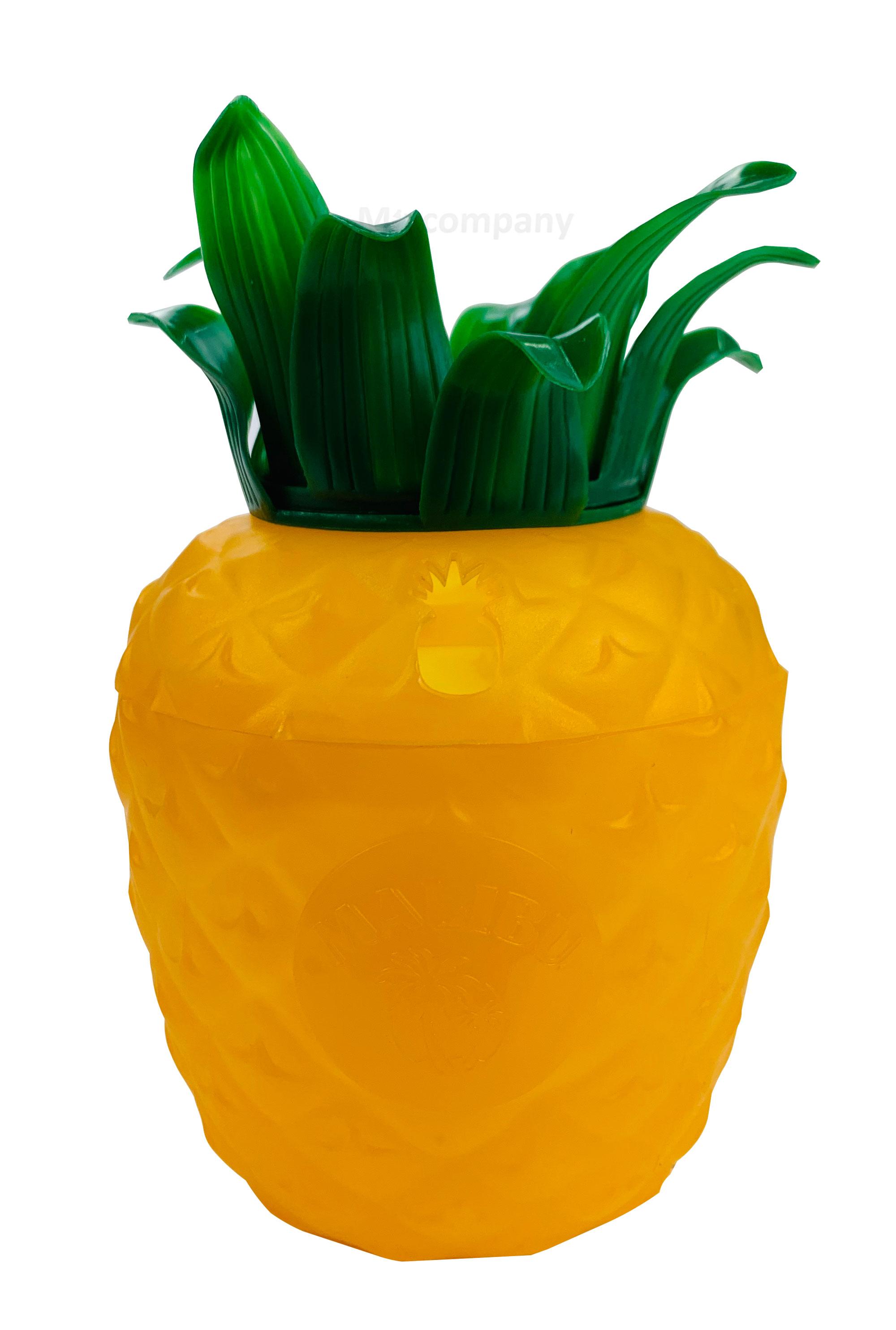 Malibu Cocktail Becher aus Kunststoff ananasform gelb ca. 0,3l 300ml Mehrweg Trinkbecher Cocktailbecher Ananas Glas Gläser