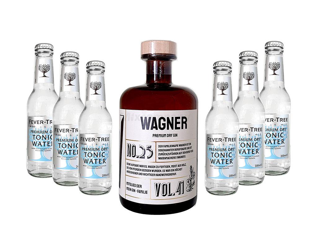 Mein Gin - Wagner Premium Dry Gin 0,5l (41% Vol) - Wagner s Gin No.25 + 6x Fever-Tree Premium Dry Tonic Water 200ml inkl. Pfand MEHRWEG -[Enthält Sulfite]