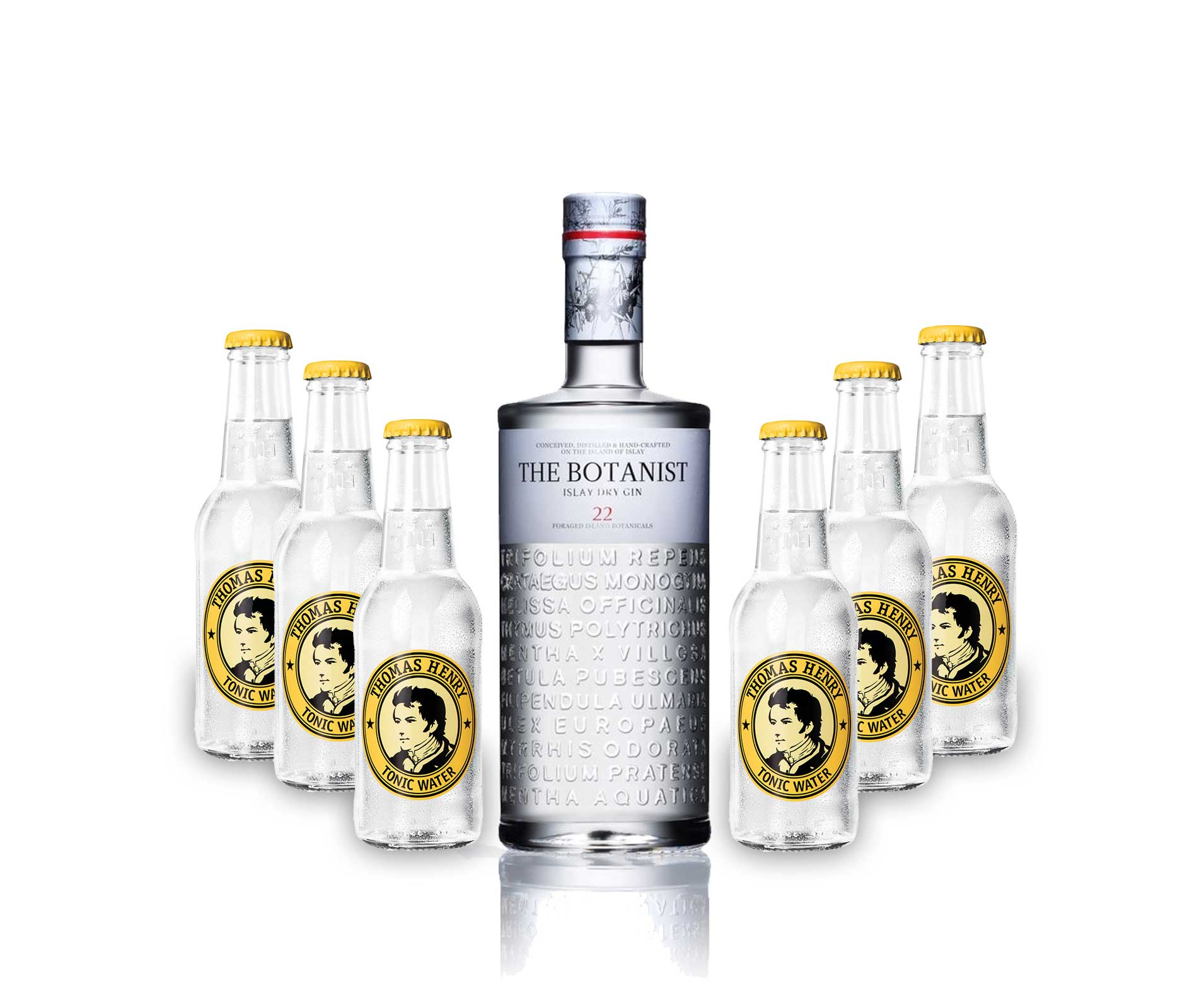 Gin Tonic Set - The Botanist Islay Dry Gin 0,7l 700ml (46% Vol) + 6x Thomas Henry Tonic Water 200ml - Inkl. Pfand MEHRWEG