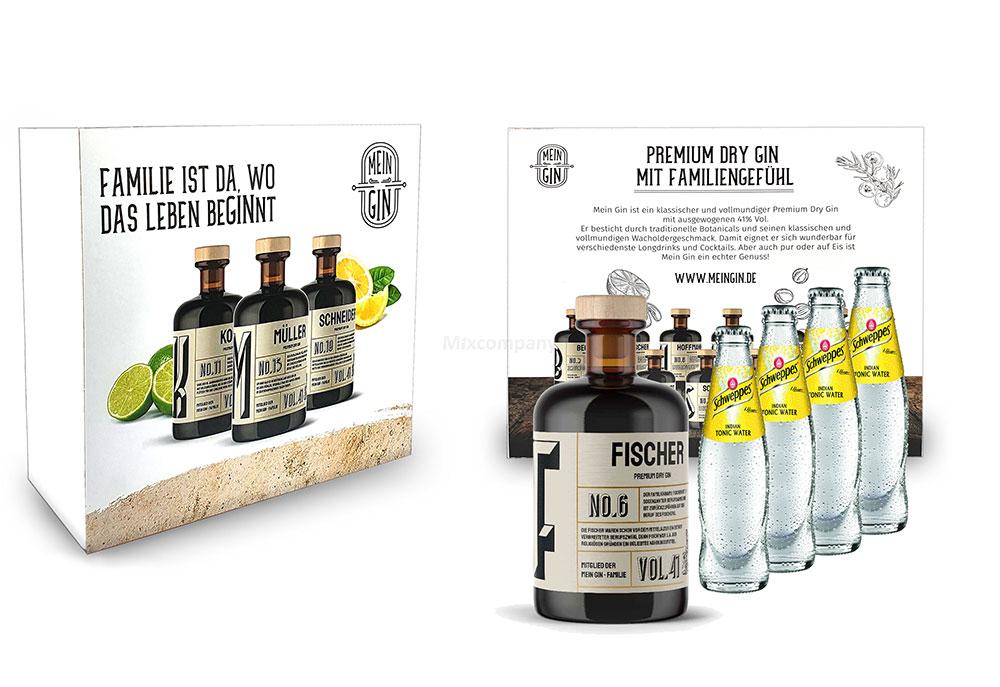 Mein Gin + Tonic Giftbox Geschenkset - Fischer Premium Dry Gin 0,5l (41% Vol) - Fischer s Gin No.6 + 4x Schweppes Tonic Water 200ml inkl. Pfand MEHRWEG -[Enthält Sulfite]
