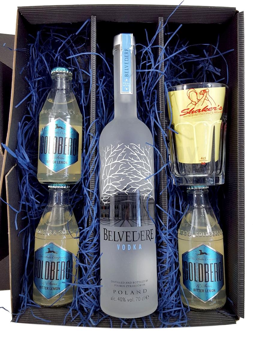 Belvedere Vodka Lemon Set / Geschenkset - Belvedere Vodka 0,7l 700ml (40% Vol) + 3x Goldberg Bitter Lemon 200ml + Shakers Glas geeicht 4cl - Inkl. Pfand MEHRWEG