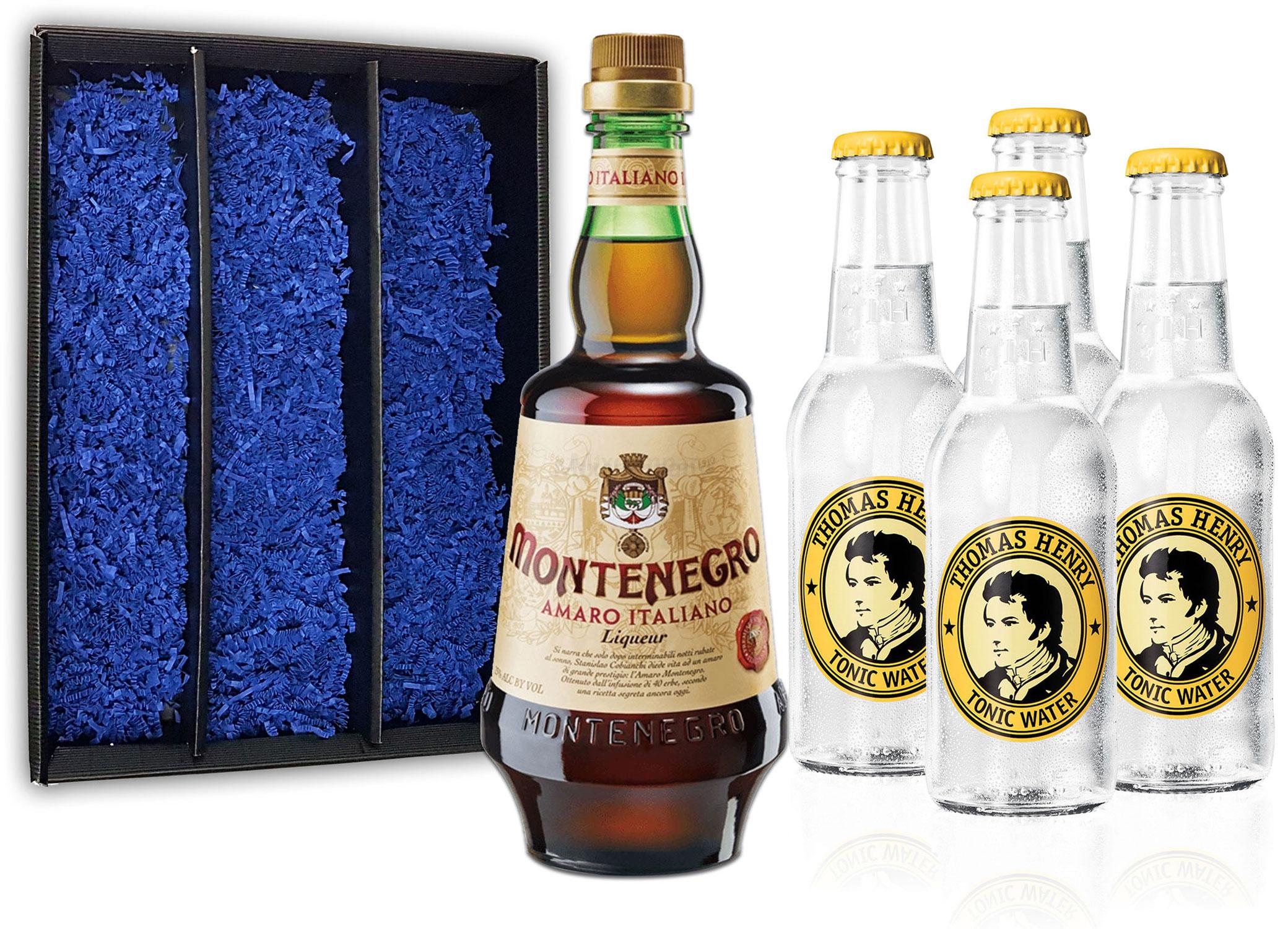 Montenegro & Tonic Geschenkset - Montenegro Amaro Italiano Likör 0,7L (23% Vol) + 4x Thomas Henry Tonic Water 200ml inkl. Pfand MEHRWEG