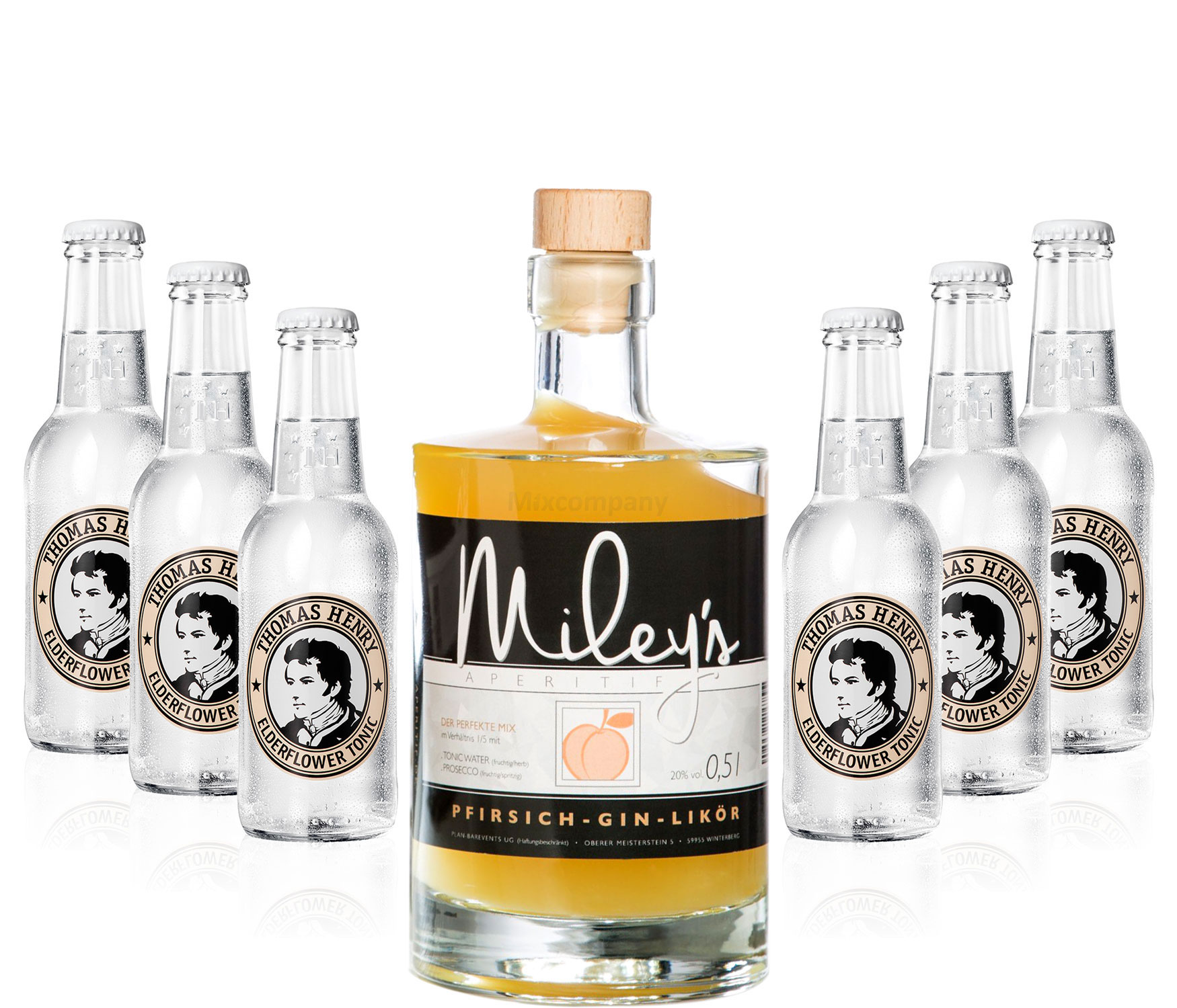 Mileys Pfirsich Gin Likör 0,5l (20% Vol) + 6x Thomas Henry Elderflower Tonic Water 200ml inkl. Pfand MEHRWEG -[Enthält Sulfite]