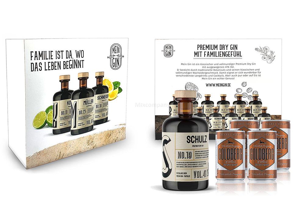 Mein Gin + Tonic Giftbox Geschenkset - Schulz Premium Dry Gin 0,5l (41% Vol) - Schulz s Gin No.19 + 4x Goldberg Intense Ginger 150ml inkl. Pfand EINWEG -[Enthält Sulfite]