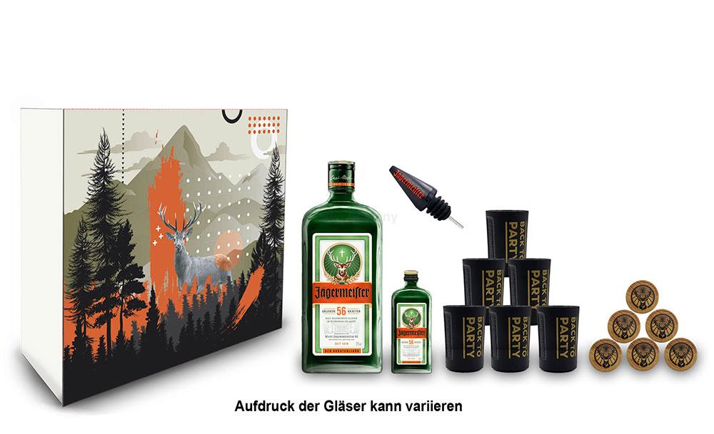 Jägermeister Schuber Geschenkset - 15 teilig mit Jägermeister 1L (35% Vol) Kräuterlikör Bar Drink - [Enthält Sulfite]