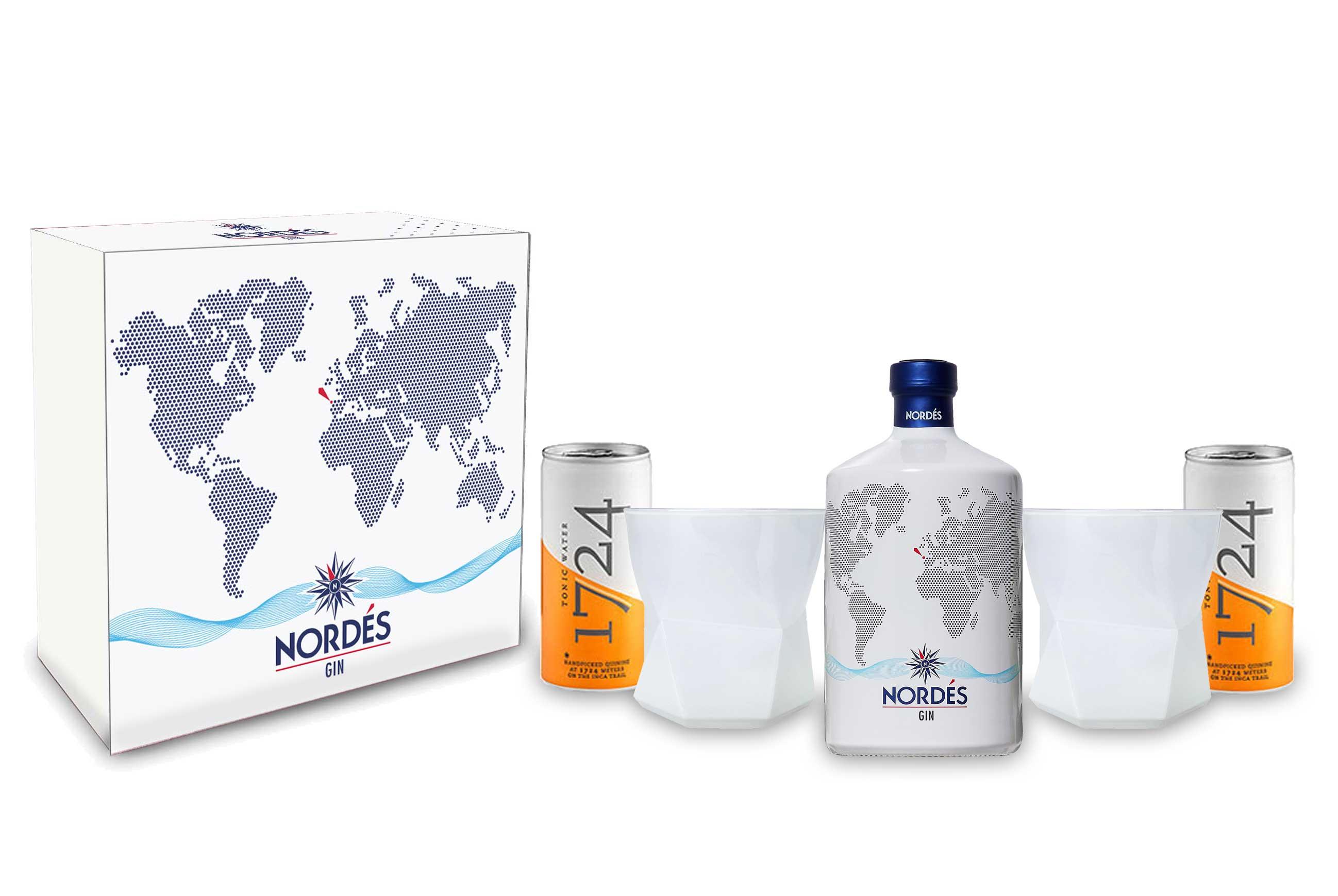 Nordes Atlantic Schuber Geschenkset Gin aus Galizien 0,7l (40% Vol) + 2x Gläser Tumbler weiss + 2x 1724 Tonic Water Dose 200ml inkl. Pfand EINWEG -[Enthält Sulfite]