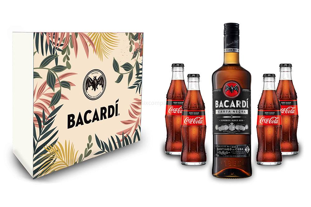 Bacardi Geschenkset - Bacardi Carta Negra Rum 0,7l 700ml (40% Vol) + 4x Cola ZERO 0,2L Inkl. Pfand MEHRWEG- [Enthält Sulfite]