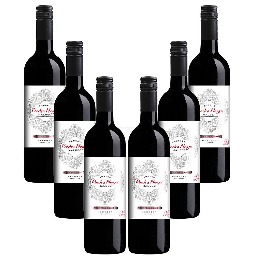 Piedra Negra - 6er Set Malbec - Bodega Alta Colección Rotwein 0,75L (13,5% Vol)- [Enthält Sulfite]