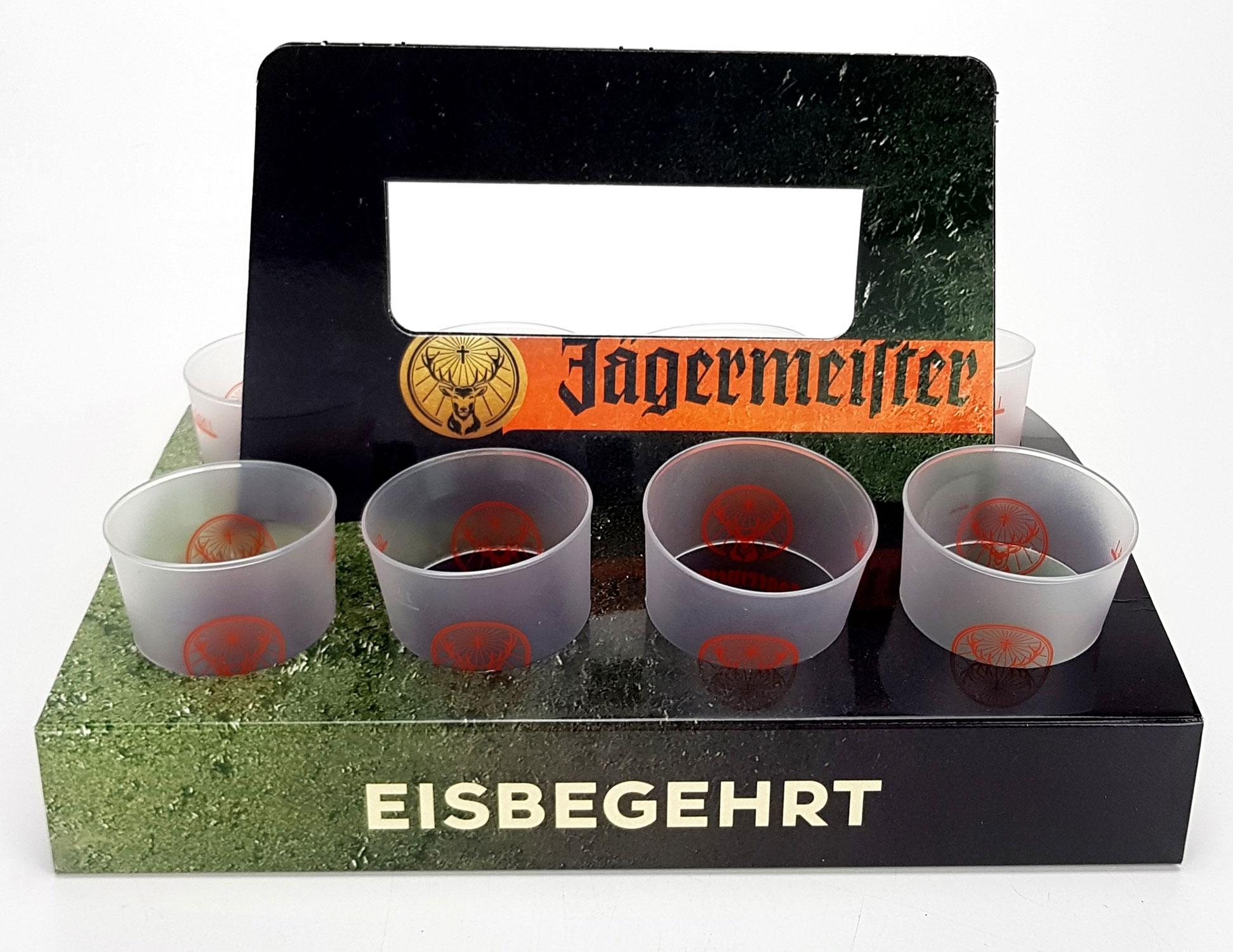Jägermeister Becher Shotglas Schnapsglas 8er Set mit halter - 2/4cl geeicht