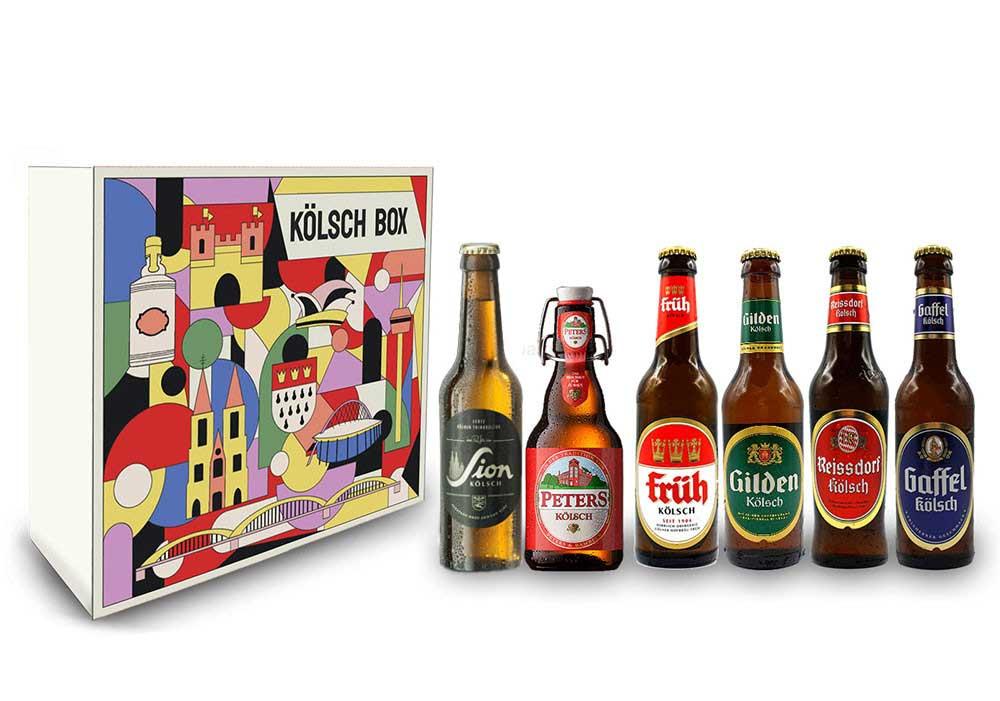 Kölsch Schuber Geschenkset 6er Bier - Sion (4,8% Vol.) + Gaffel (4,8% Vol) + Früh (4,8% Vol.) + Gilden (4,8% Vol.) + Reissdorf (4,8% Vol.) + Peters (4,8% Vol) - je 0,33L (bis auf Sion) - Inkl. Pfand MEHRWEG