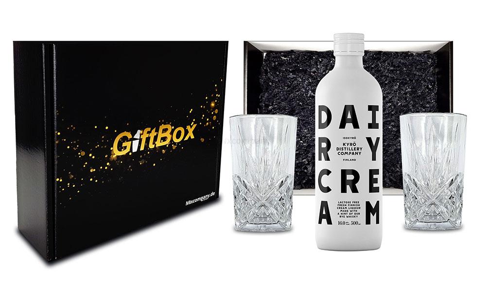 Kyrö Distillery Company Set / 2x Longdrinkglas + Dairy Cream Likör 0,5L (16% Vol) in Geschenkset- [Enthält Sulfite]