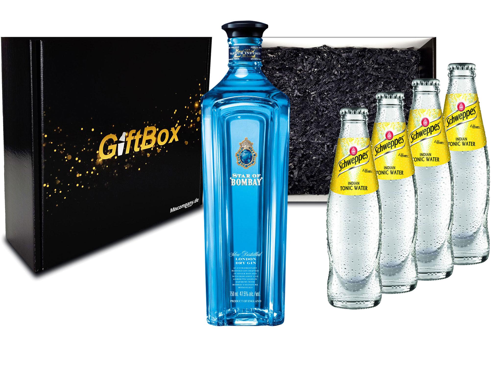 Gin Tonic Giftbox Geschenkset - Star of Bombay Slow Distilled London Dry Gin 0,7l (47,5% Vol) + 4x Schweppes Tonic Water 200ml inkl. Pfand MEHRWEG - [Enthält Sulfite]