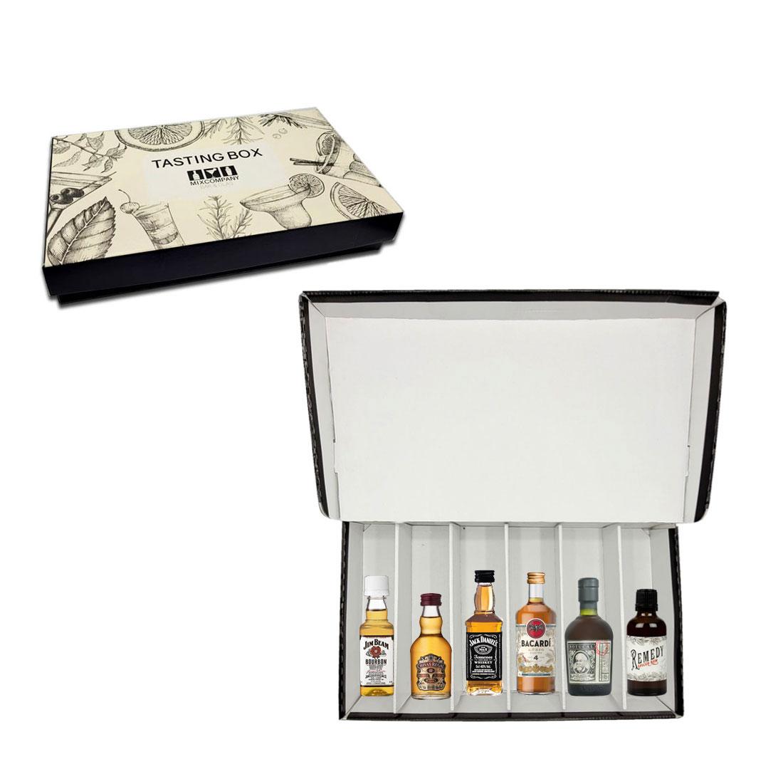 Whisky Rum 6er Tasting Box - 3x Whisky + 3x Rum Miniaturen Probierset Geschenk Set mit Jim Beam Chivas Jack Daniels Bacardi Botucal Remedy