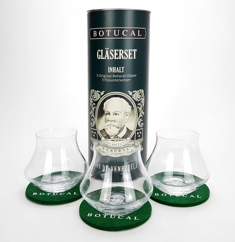 Botucal Geschenkset Dose Gläserset - Botucal Dose + 3x Filzuntersetzer Untersetzer + 3x Rum Tumbler Glas Gläser